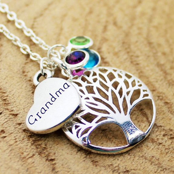 Tree Of Life Grandma Necklace Family Jewelry by RootedInLoveCustom
