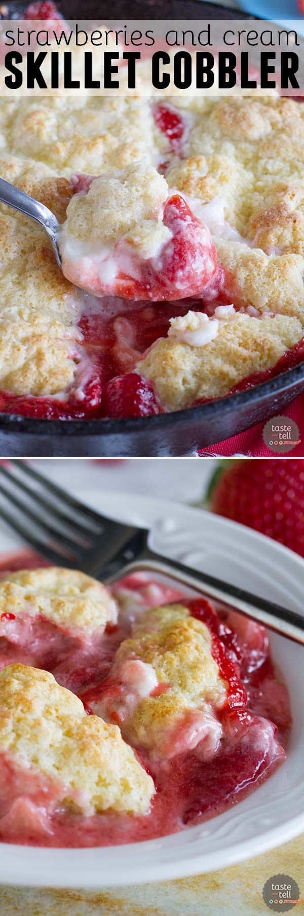 Perfect for serving and eating with friends, this Strawberries and Cream Skillet Cobbler is down-home deliciousness.: