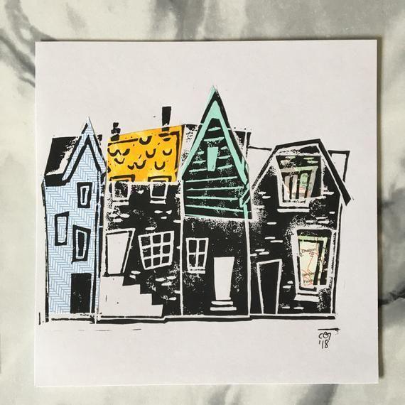 original Home A5 linocut print card