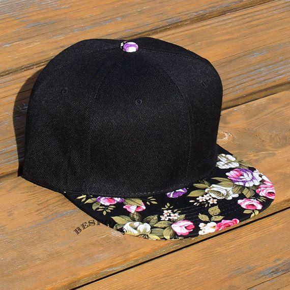 Black Snapback Hat With Vintage Floral Brim Blank Cap by bespokela, $15.00