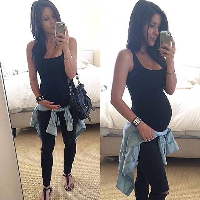 Pregnant Andee Layne @andeelayne// love all black with the denim shirt for layering