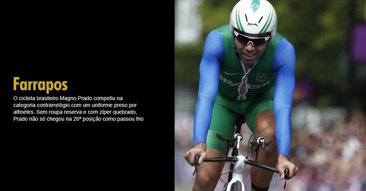O ciclista brasileiro Magno Prado competiu na categoria contrarrelógio com um uniforme preso por alfinetes. Sem roupa reserva e com zíper quebrado, Prado não só chegou na 26ª posição como passou frio