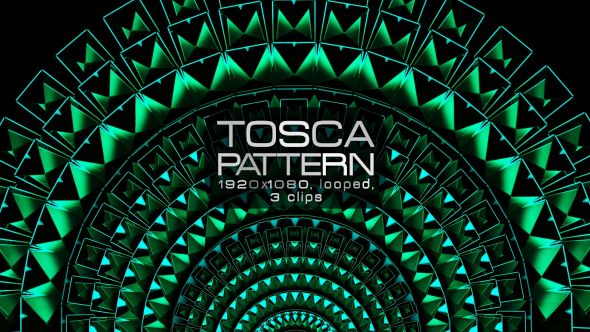 Tosca Pattern Video Animation | 3 clips | Full HD 1920×1080 | Looped | H.264 | Can use for VJ, club, music perfomance, party, concert, presentation |#awards #cinematic #concert #edm #fashion #frame #glamour #glow #green #loops #luxurious #pattern #slow #tosca #vj