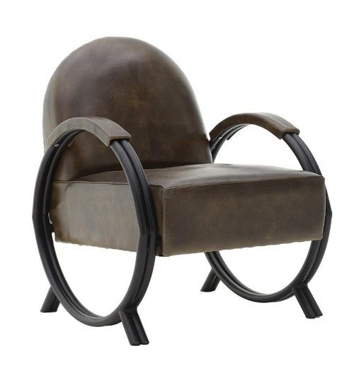 LEATHER CHAIR IN BROWN COLOR 61X74X79