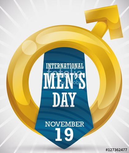 Golden Masculine Symbol and Tie Commemorating International Men's Day