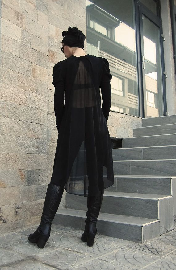 Tunic with chiffon back/Long Sleeves Tunic/Asymmetric by CARAMELfs https://www.etsy.com/listing/219927479/tunic-with-chiffon-backlong-sleeves?ref=shop_home_active_12