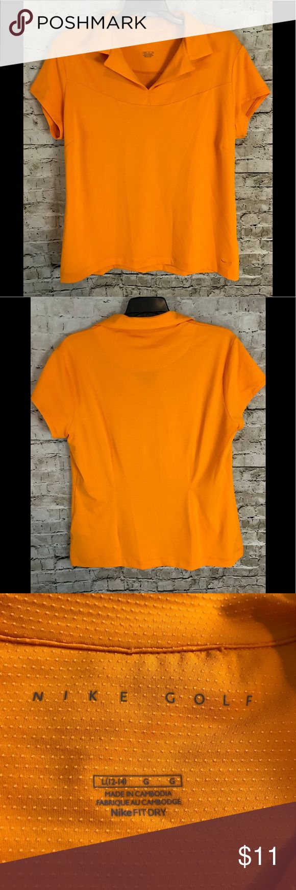 Women's Nike Golf Large Orange Short Sleeve Shirt You will be purchasing a Women's Nike Golf Orange Short Sleeve Shirt Size Large - please see photos for measurements to determine fit. It is used. If you have any further questions, please do not hesitate to ask. Thanks for Looking! Sku# EMP A1-04 Nike Tops