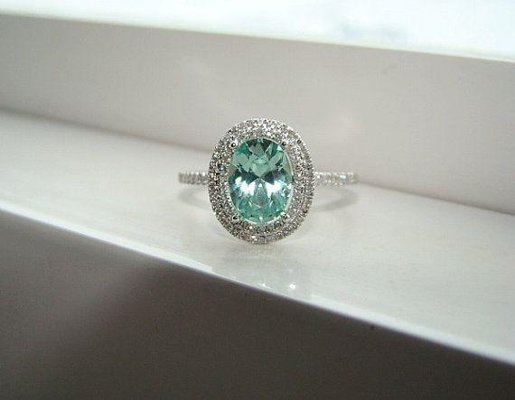 Oval Halo Mint Blue Green Garnet Diamond Ring Gemstone Engagement Ring Wedding Custom Cushion Oval Halo Setting 10K White Gold