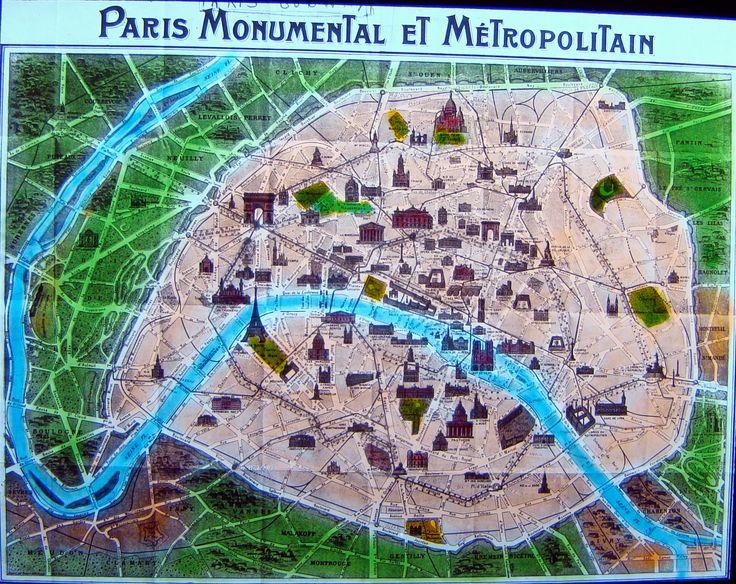 Map showing Paris monuments