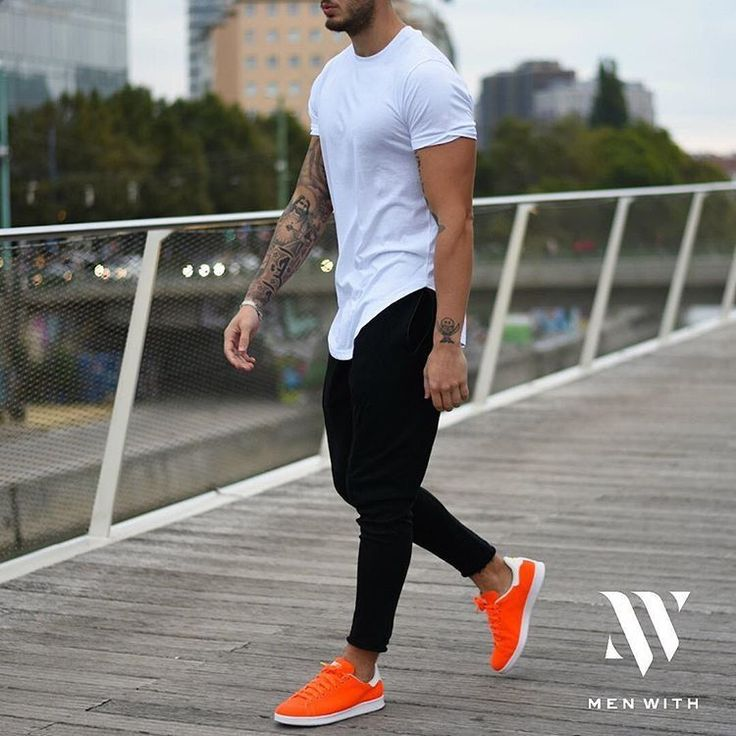 Men's fashion  Orange shoes  Joggers  Gym outfit