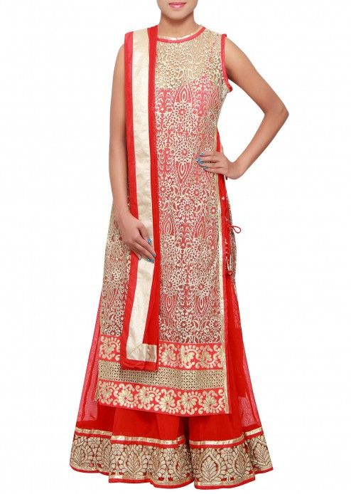 Red and beige anarkali suit adorn in zari embroidery only on Kalki