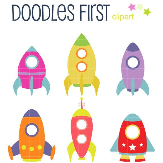 Rocket Ships Clip Art for Scrapbooking Card Making by DoodlesFirst