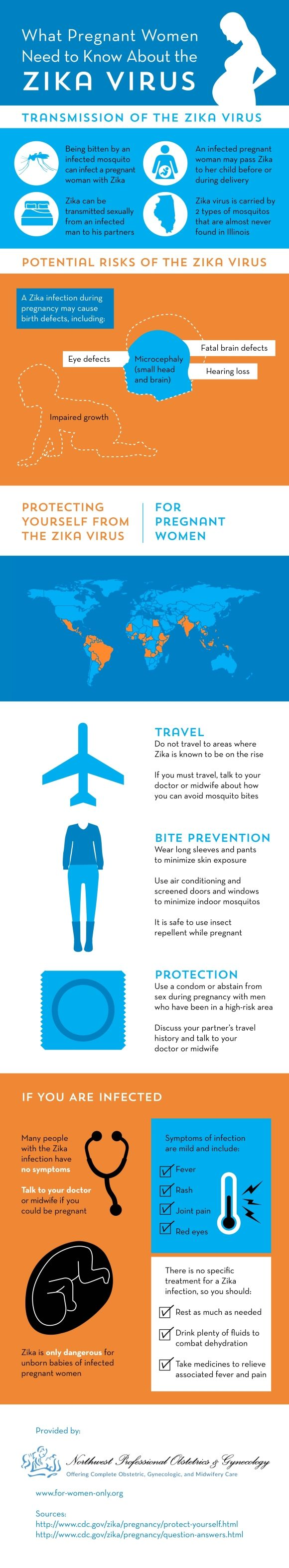 A baby who contracts the Zika virus from a pregnant mother might experience microcephaly, hearing loss, and fatal brain defects. View this infographic and learn how to keep yourself protected! #infographic #data visualization #pregnancy #gynecology #iud #birth control