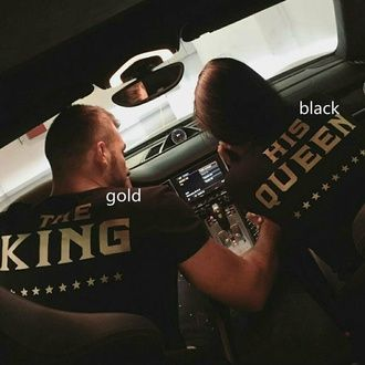 black t-shirt t-shirt matching couples king and queen matching set last kings car shirt outfit idea black and gold couple shirt