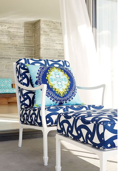 Trina Turk Fabric for bamboo chair makeoverDecor, Trina Turk, Lounges Chairs, Outdoor Seats, Beach House, Blue, Outdoor Chairs, Fabrics, Trinaturk