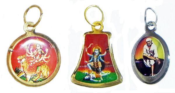 Kali, Bhagawati and Shirdi Sai Baba Pendants (Metal)