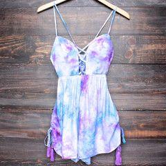 REVERSE tie dye pixie romper - purple