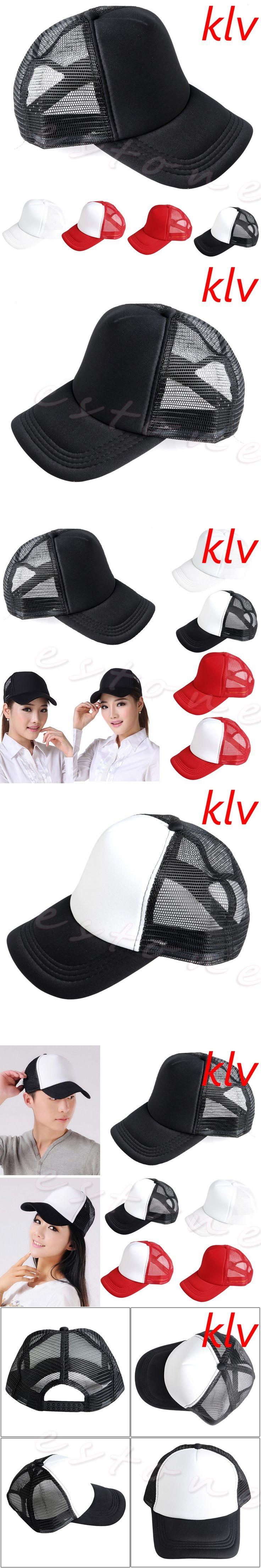 KLV  Adjustable Blank Curved Visor Hat Plain Baseball Cap Solid Trucker Mesh Men Women New Gorros para el sol