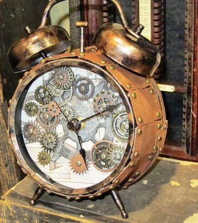 Tim Holtz Steampunked Assemblage Clock Alarm Clock Art