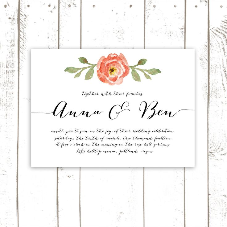 Coral Wedding Invitation Watercolor Flower By MooseberryPaperCo