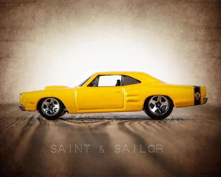 Vintage Muscle Car Yellow 1969 Dodge Super Bee