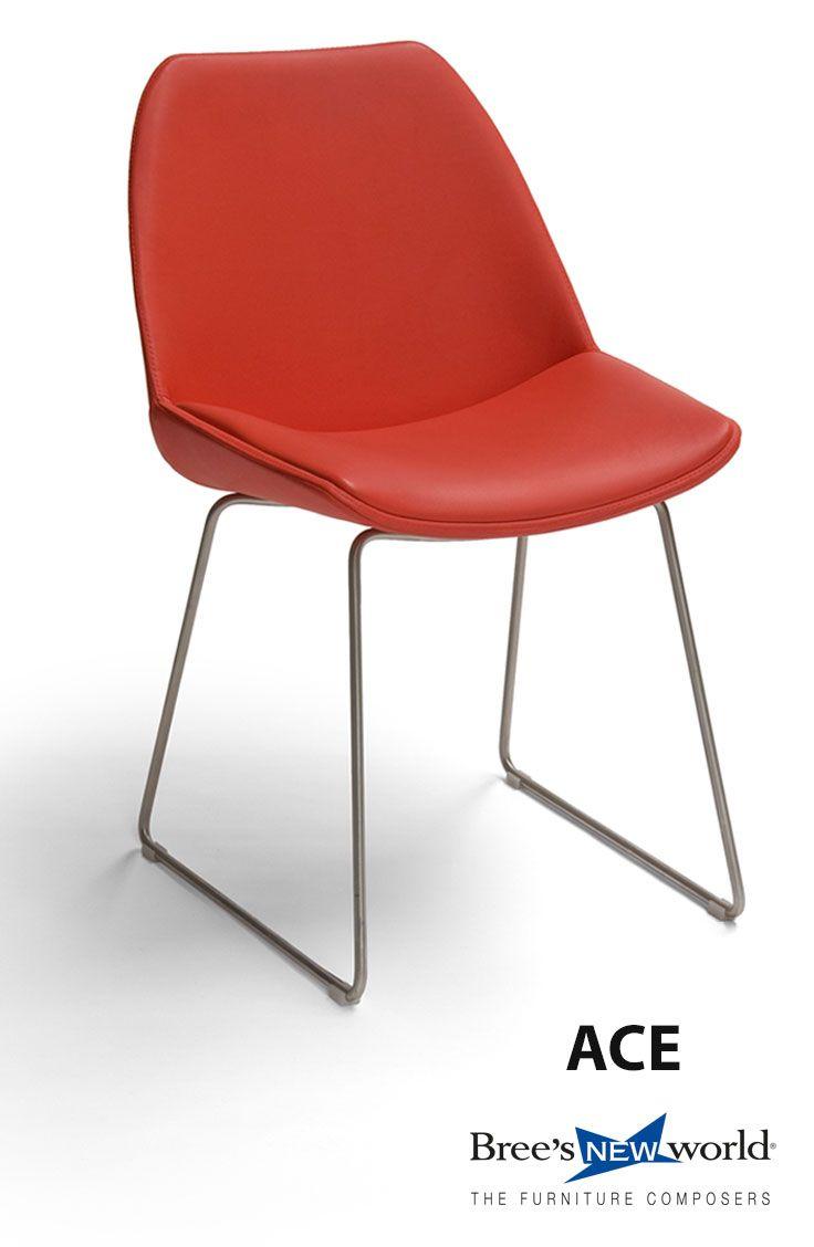 Kuipstoel Ace op RVS sledeframe, in rood leder. #design #modern #furniture