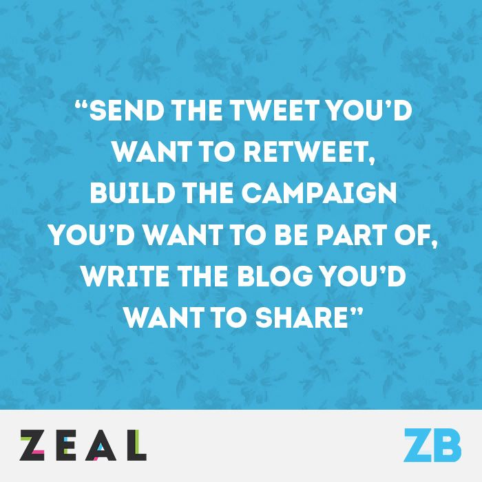 """""""Send the tweet you'd want to retweet, build the campaign you'd want to be part of, write the blog you'd want to share"""" #Marketing #Quote"""