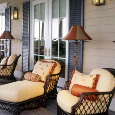 Lamps and fringe pillows on a front porch.Outdoor Ideas, Decks Ideas, Porches Decor, Home Ideas, Outdoor Living, Porches Patios Decks, House, Palms Gardens, Front Porches Furniture