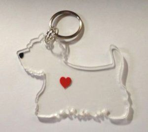 Westie Silhouette Key Ring. This can be ordered from the WestieMed giftshop Help less fortunate Westies find forever homes. http://www.westiemed.org/shop/home/