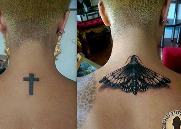 Moth cover up neck tattoo - Neck tattoos are rather small so the first tattoo, which is a cross is more on the easier tattoos to conceal. The cover up tattoo was a moth which is perfect as it has its fair parts of dark and shaded areas as well as small as well. But the details on it definitely makes it worthy of a cover.