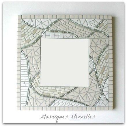 """Miroir en mosaïque """"patchwork"""" ivoire et argenté"""