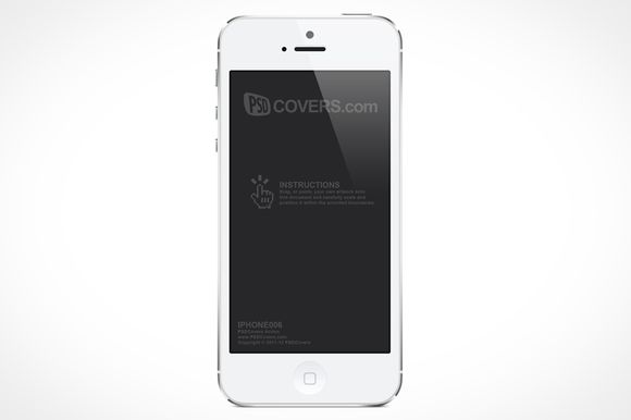 White iPhone 5 Product Mock-Up Front by psdcovers on @creativemarket