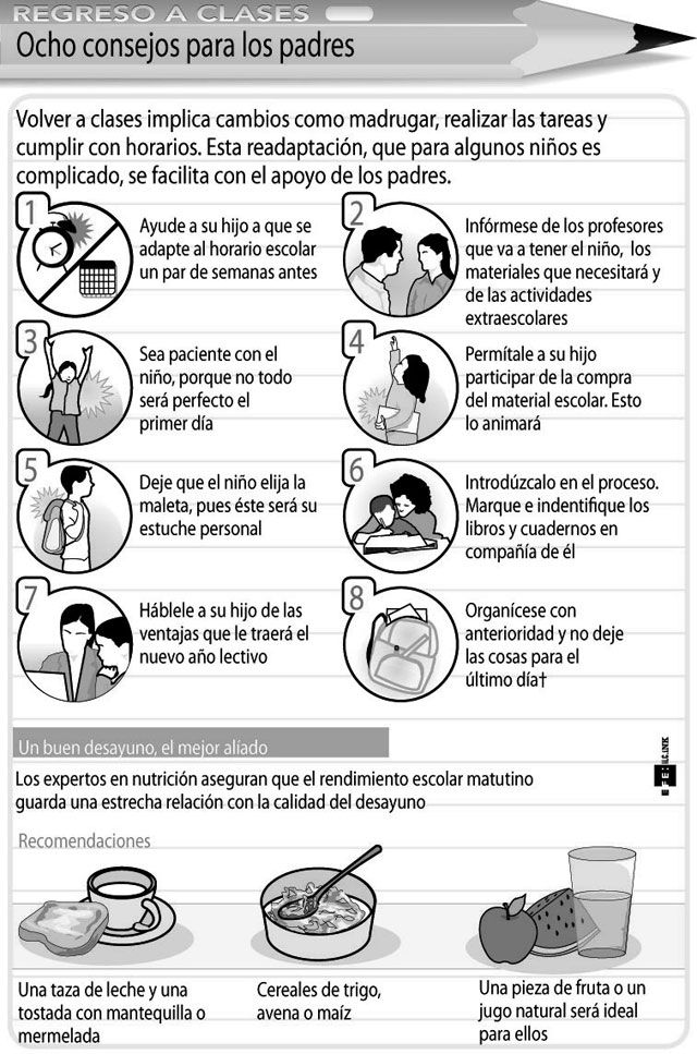 Regreso al cole: consejos para los padres #infografia