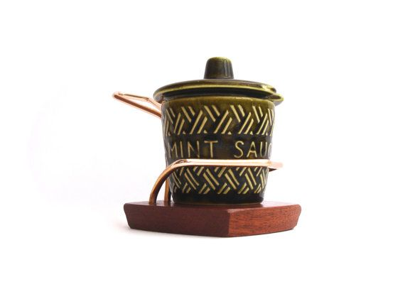 1950s Vintage Mint Sauce Pot Boat Vintage Condiments by FillyGumbo