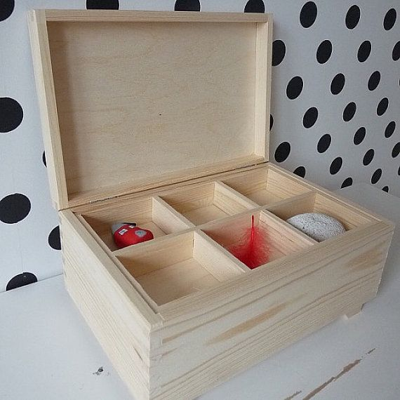 Large wooden unpainted unfinished blank plain chest box treasure box with 6 compartments and extra hidden compartment, wooden secret box