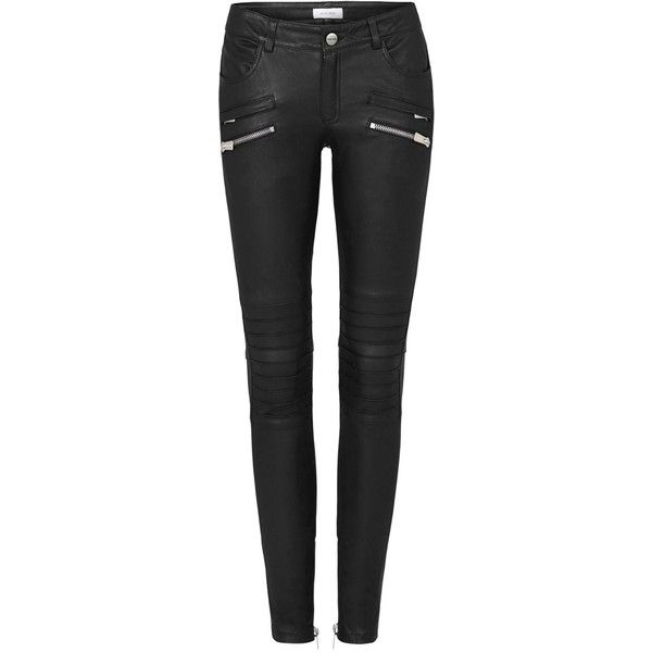 BIKER LEATHER PANTS IN BLACK ($1,469) ❤ liked on Polyvore featuring pants, jeans, jeans/pants, leather pants, women, bike pants, leather trousers, genuine leather pants and biker trousers
