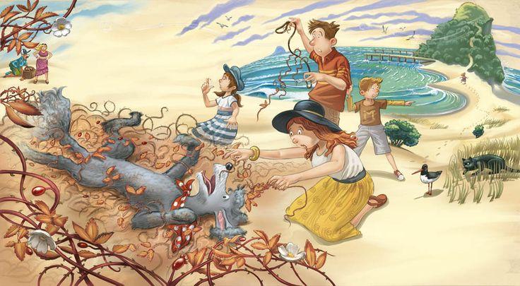 """Dashing Dog"", © illustrations by Donovan Bixley, written by Margaret Mahy, Harper Collins 2013"