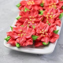 Poinsettia Meringue Cookies