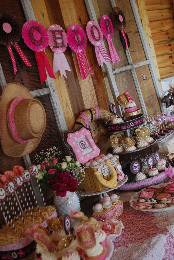 "Cowgirl Princess Fifth Birthday Party via Kara's Party Ideas love the ""blue ribbon"" banner"