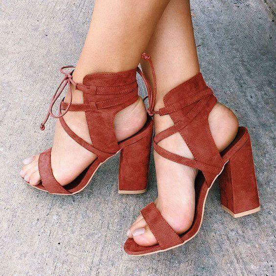 Suede Cross Strap Chunky Heel Sandals #Accessoriesteens