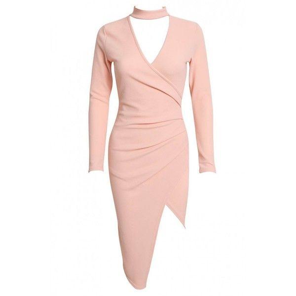 DIAMOND Pink Choker Midi Wrap Dress ($24) ❤ liked on Polyvore featuring dresses, high-low dresses, wrap midi dress, midi cocktail dress, nude dress and midi dress