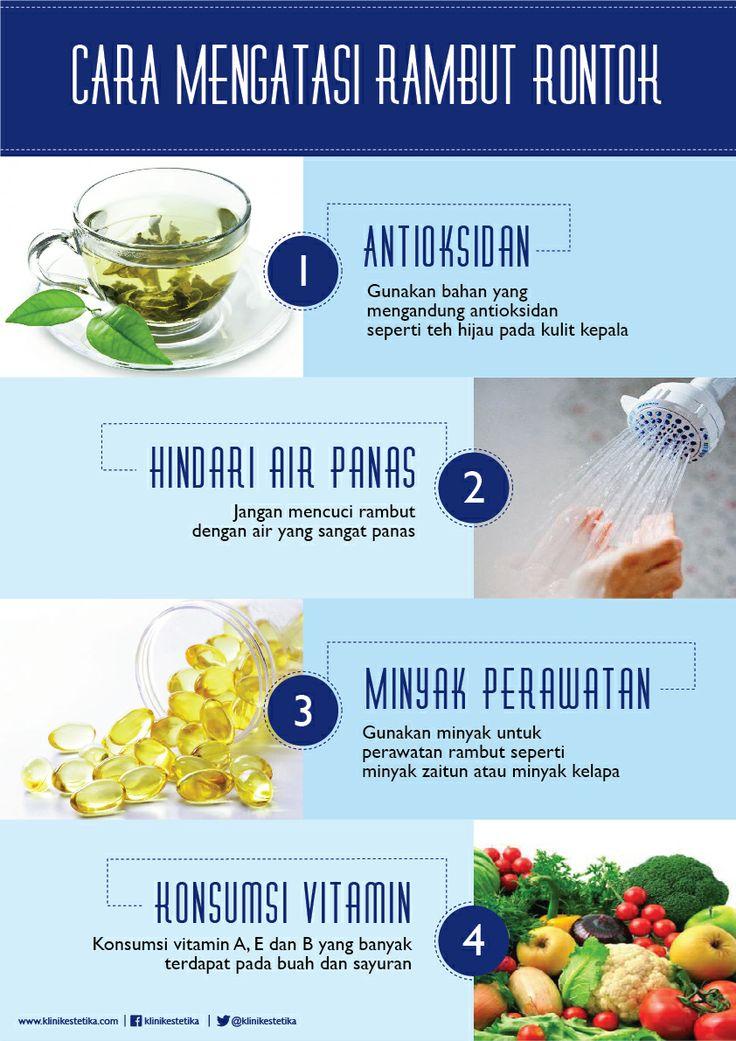 Cara mengatasi rambut rontok : 1. Antioksidan 2. Hindari air panas 3. Minyak perawatan 4. Konsumsi Vitamin | Beauty Infographic