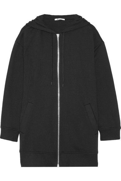 T by Alexander Wang - French Cotton-blend Terry Hooded Top - Black - medium