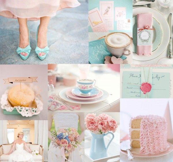 ベビーピンクと水色の配色は、ぜひ取り入れたい!ロマンティックなウェディングに。