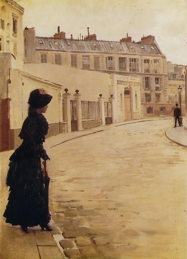 L'attente, de Jean Béraud (1880-1885). Je me demande bien ce qu'elle peut attendre... un amant?