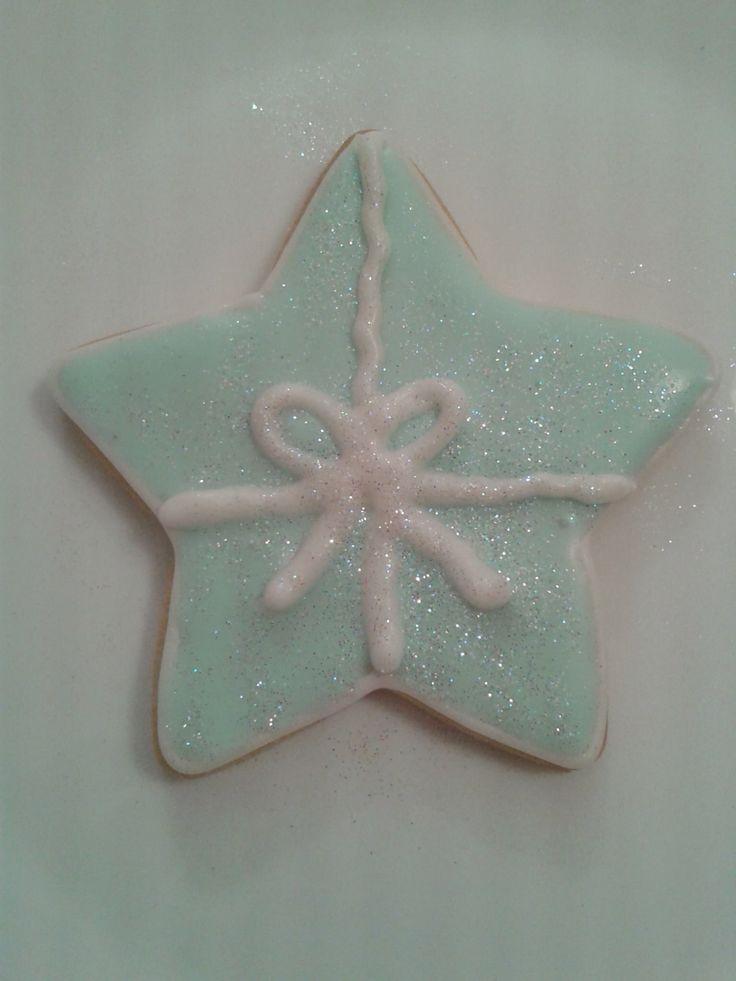Mis primeras galletas navideñas. Estrella con lazo