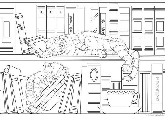 Home Library Cats Printable Adult Coloring Page From Favoreads