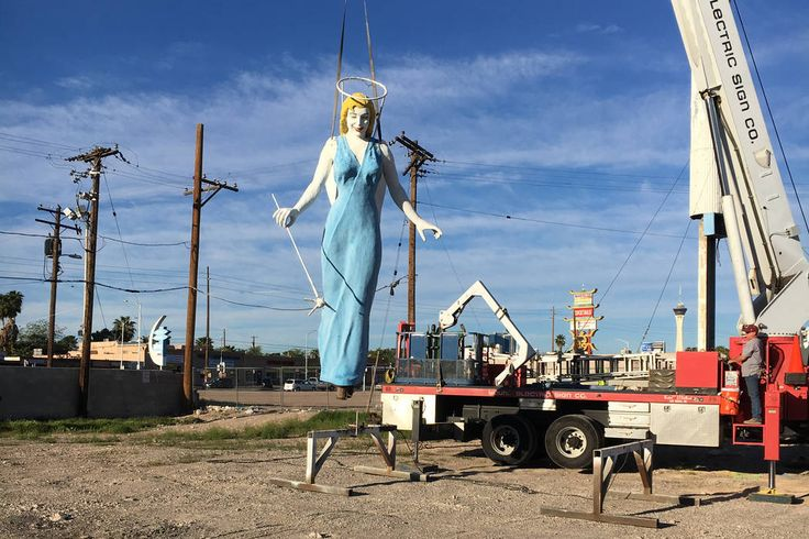 After spending more than six decades watching over downtown Las Vegas, the iconic Blue Angel statue is getting some restoration and relaxation.