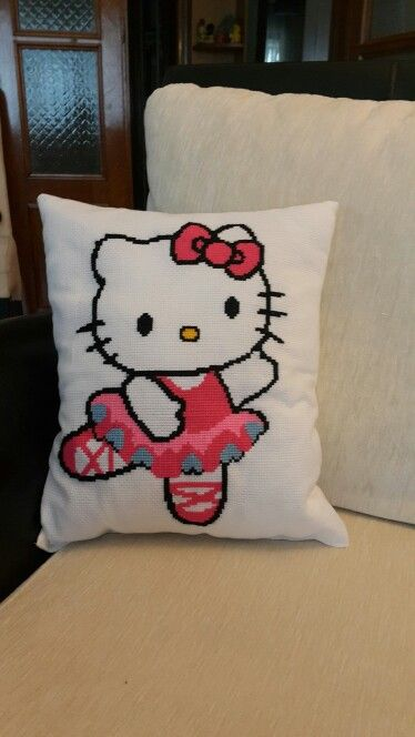 Crossstitch Hello Kitty Pillow