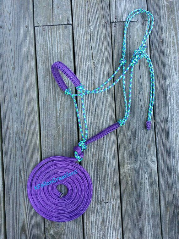 Rope Halter with Attached 10' Lead by KFallonCreations on Etsy